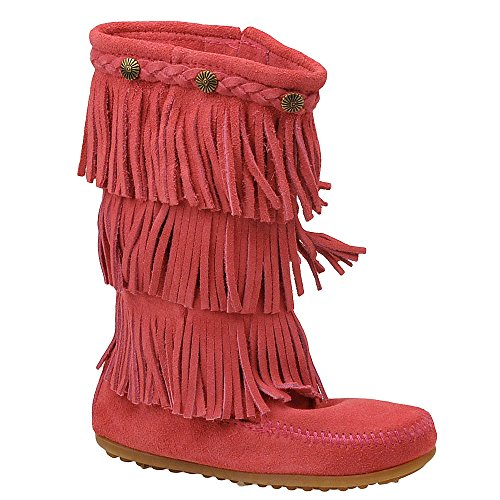 (Minnetonka Children's 3-Layer Fringe Boots, Hot Pink Suede, 12)
