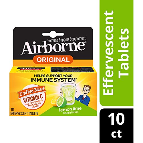 Airborne Immune Support Effervescent Tablets-1000mg Vitamin C With Echinacea, Ginger, Amino Acid Blend, Zinc, & Selenium, Gluten Free, 10 Count, Lemon Lime