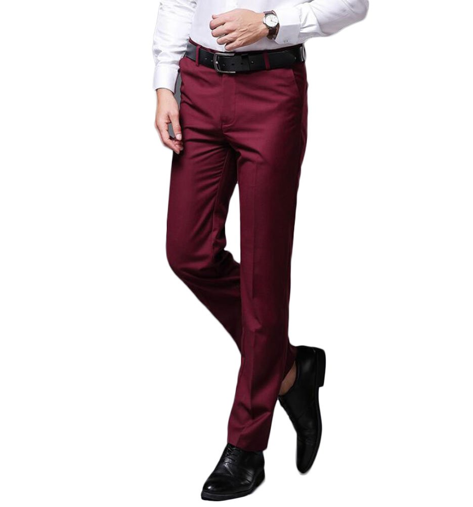 Men's Wrinkle-Free Stretch Pants Comfort Suit Pant Dress Trousers Burgundy 36Wx30L by Botong