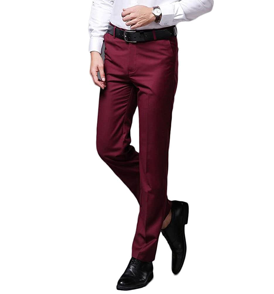 Botong Mens Wrinkle-Free Stretch Pants Comfort Suit Pant Slim Fit Dress Trousers