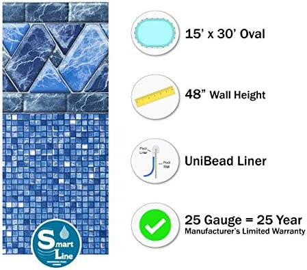 Oval x 48 in Lucia Pool Liner Above Ground Uni-Bead 15 Ft 20 Year Warranty GLI Aqualiner Tile Pattern 25 ML Gauge H x 30 Ft Made USA