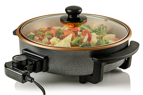 Ovente Electric Skillet with Non-Stick Aluminum Body, 1400-Watts, Adjustable Temperature Controller/Regulator Included, Tempered Glass Cover, Cool-Touch Handles, Portable, Copper Interior (SK11112CO)