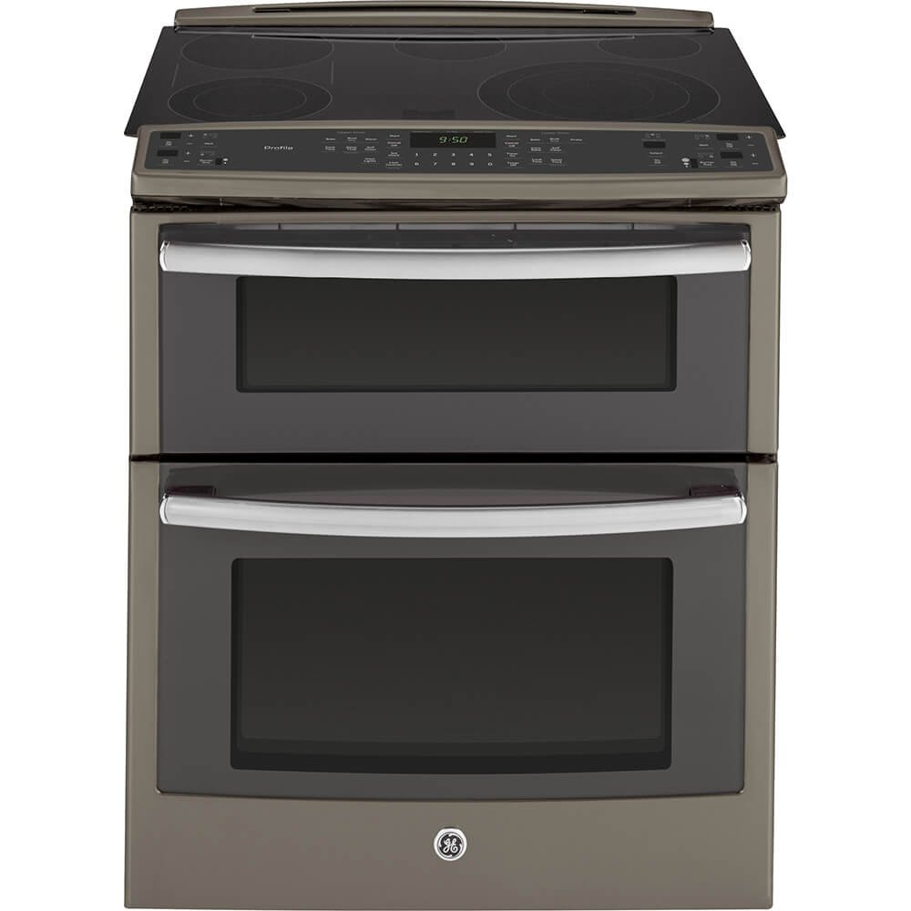 PS950EFES 30'' 6.6 cu. ft. Capacity Slide-In Double Oven Electric Range with True European Convection Expandable Bridge Zone Glass Touch Controls and Self-Clean Roller Rack in Slate GE Profile