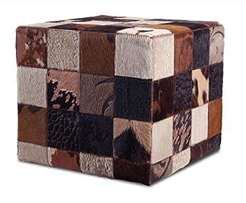 Pelliccia sgabello rettangolare 40 x 40 x 35 cm marrone bianco