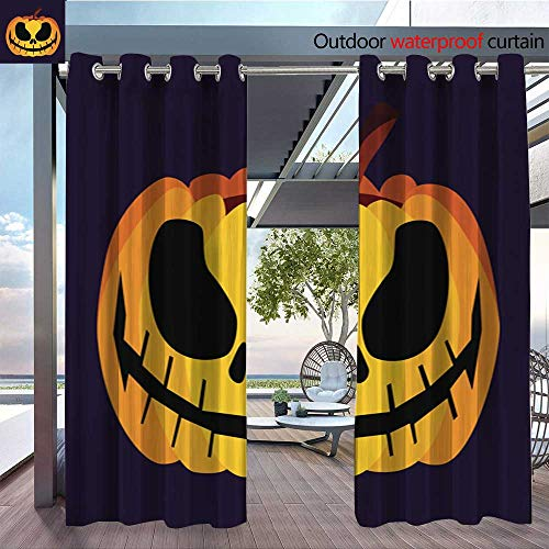 QianHe Outdoor Privacy Curtain for Pergola Isolated-Vector-Yellow-Orange-Festive-Scary-Halloween-Pumpkin-Icon2.jpg Thermal Insulated Water Repellent Drape for Balcony W96 x L108(245cm x 274cm) -