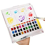 Watercolor Art Paint Set for adults and kids Portable Travel Watercolor Kit - Watercolor Field Sketch Set includes 2 Water Brush pens - 2 Sponges and 1 Mixing Palette (40 Colors)