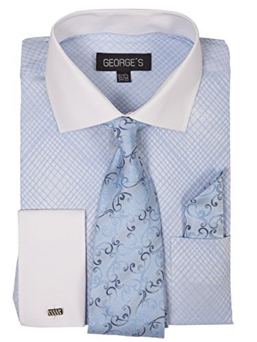 George's Small Check Pattern Fashion Dress Shirt With Woven Tie Set AH624 Sky-20-20 1/2-36-37