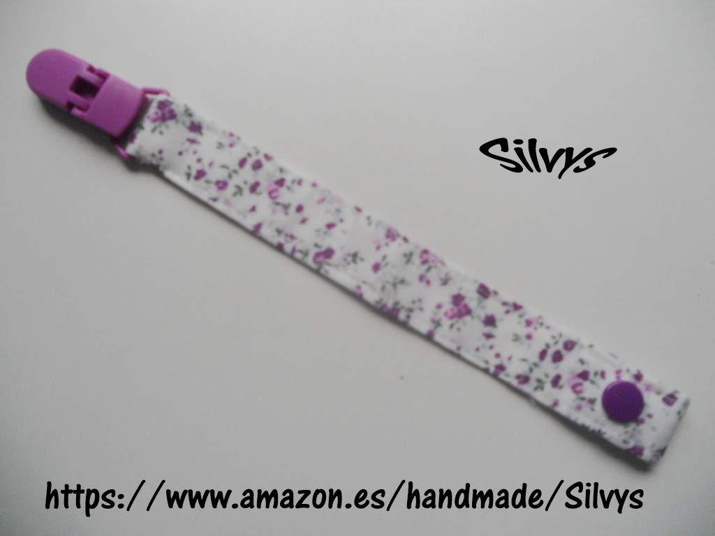 Chupetero de tela con clip Silvys, de color blanco con ...