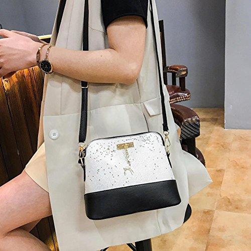 PU Crossbody Shoulder Handbag Messenger Women Sequin Shell Leather Bag White Everpert Lady BqZaRx4