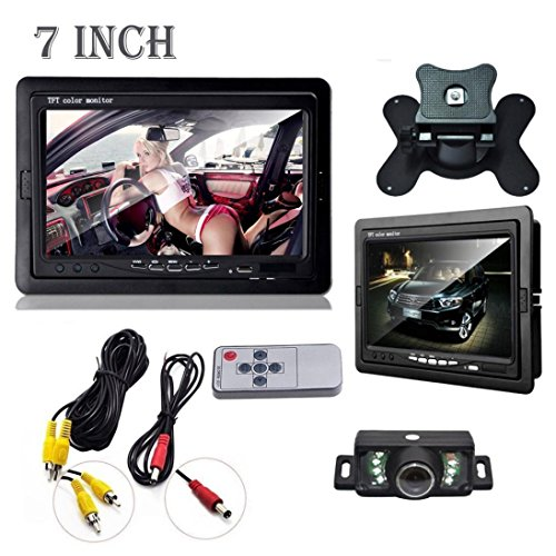 Dacawin Car Rearview monitor rearview backup camera system 7 TFT LCD Screen Night Vision (Black) by Dacawin (Image #3)