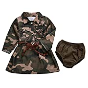 AILOM Baby Girls Camo-Camouflage Long Sleeve Belt Skirts+Armygreen Shorts Set (Camouflage, 6-12Months)