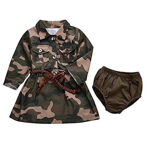 AILOM Baby Girls Camo-Camouflage Long Sleeve Belt Skirts+Armygreen Shorts Set (Camouflage, 12-18Months)