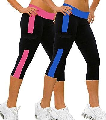 iLoveSIA 2PACK Women's Running Capri Tights YOGA Pants Leggings