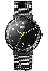 Braun Men's BN0032BKBKMHG Classic Mesh Analog Display Quartz Black Watch