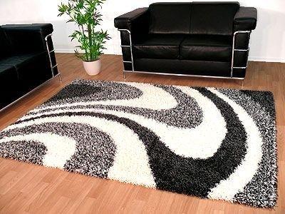 Hochflor Shaggy Designerteppich Lounge Grau Weiss Wellen in 4 Größen!!!