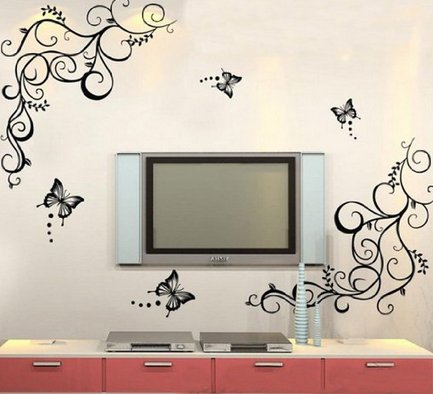 Newsee Decals Butterfly Wisteria Flowers Vine Art Vinyl Wall Decal Stickers Home Decor