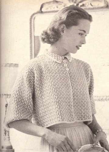 Vintage Crochet PATTERN to make - Boxy Shorty Bed Jacket Sweater. NOT a finished item. This is a pattern and/or instructions to make the item only. ()