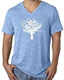 Yoga Clothing For You Mens White Tree V-Neck Tee, Large Blue Triblend