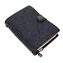 """Pettom Genuine Leather Journal Refillable Handmade Vintage Embossed Travel Journal Diary Black Journal Notebook and Planner with Button Closure for Men Women(8.7""""L Black)"""