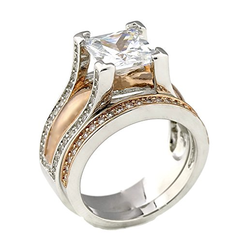 2CT Princess Cut Bold Cathedral Setting Rose Gold Plated Two Tone
