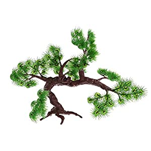 LANDUM Artificial Plastic Pine Tree Green Plant Aquarium Fish Tank Ornament Decoration 30x18x18cm 69