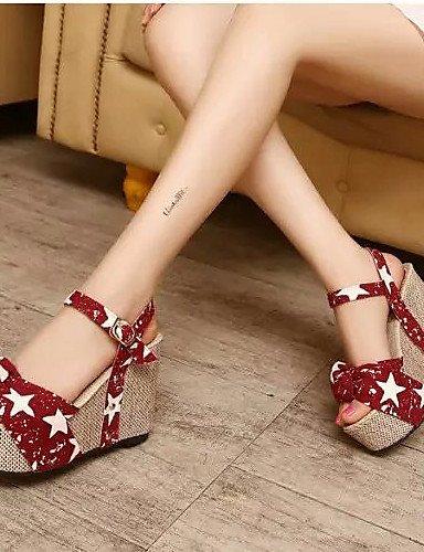 oficina Zapatos Mujer Sandalias plateau De Wedges comodidad Cuña lila vestido Outddor Azul Sintética Morado Piel Shangyi dPqUIwU