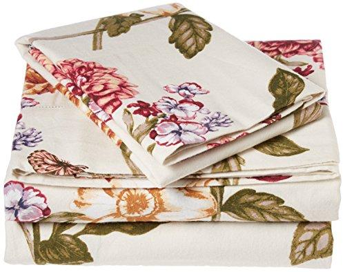 Tribeca Living BL200HSEDSSTW 200 GSM Blossoms Printed Deep Pocket Flannel Sheet Set, Twin ()