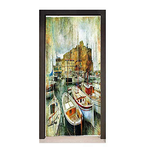 Marine Self Adhesive Wall Sticker Naples Small Boats at Historical Italian Coast with Heritage Castle Nautical Artwork Decor Door Mural Multicolor,W17.1xH78.7