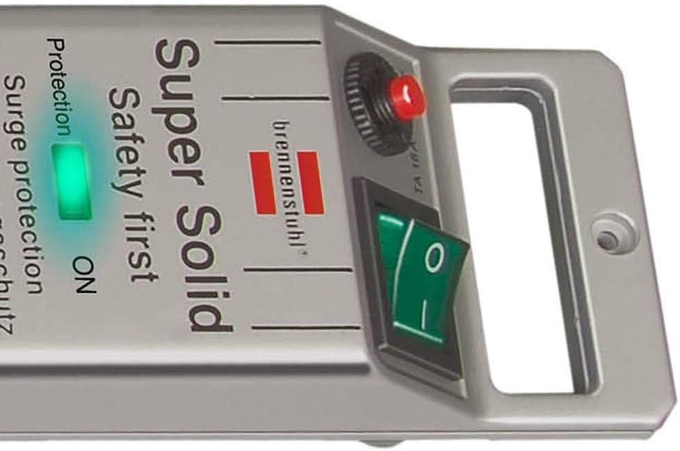 Brennenstuhl Super-Solid regleta enchufes con 5 tomas y protección sobretensiones hasta 13.500 A (cable de 2.5 m, anti picos tensión, para interiores) plateado: Amazon.es: Bricolaje y herramientas