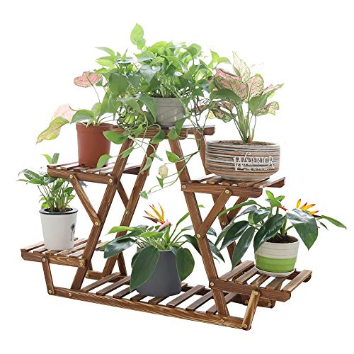 Triangular Plant Shelf Wooden Stand Indoor Carbonized 6 Potted Window Patio Rack Holder for Plants Succulents Flowers Decors