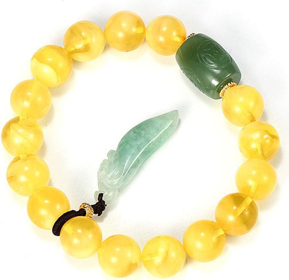 LY Pulseras de Cera de Abejas Naturales Jade Cuentas Redondas Cuentas de Ojo de Gato Ruyi Borla Colgante Pulsera de Mujer