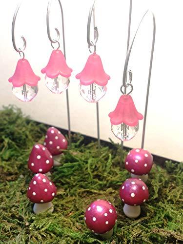 Fairy garden accessories 10 piece set. Pink fairy lights and pink miniature mushrooms. Terrarium décor. ()