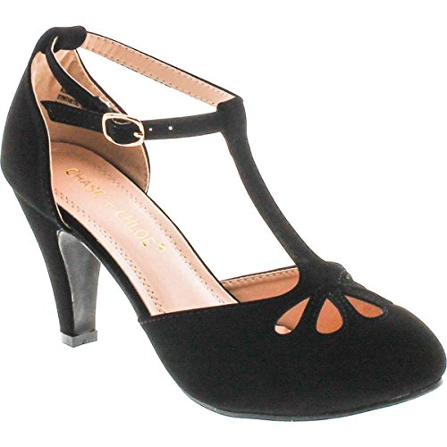 Chase & Chloe Kimmy-36 Women's Teardrop Cut Out T-Strap Mid Heel Dress Pumps (9, Black Nubuck) - Vintage Womens Pumps