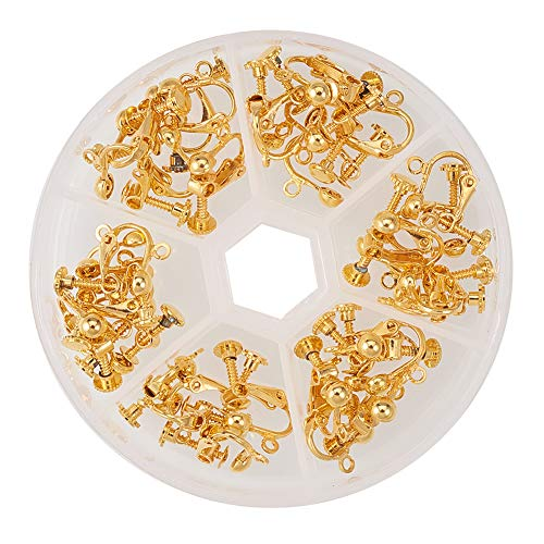 PandaHall Elite 36Pcs Nickel Free Brass Clip-on Earring Component Golden in a Box for Non-Pierced Ears