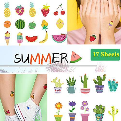 Ooopsi Fruit Temporary Tattoos for Kids - More Than 180 Tattoos (Pack of 17 Sheets) - Non Toxic Waterproof Cartoon Summer Tattoos Sticker for Children Birthday Party -