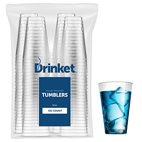 Crystal Clear Tumbler - DRINKET Heavy Duty Crystal Clear Glasses Round Hard Plastic Cups Wine Tumbler Disposable 12 oz For Party Cocktail Whiskey Beer Scotch Champagne Flutes Cocktail 100 Count Bulk Water Punch Drinking Cup