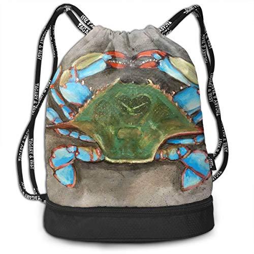 Zhangyi Blue Crab Drawstring Backpack Sports Gym Cinch Sack Bag For Girls Boys Women Gymsack Sackpack