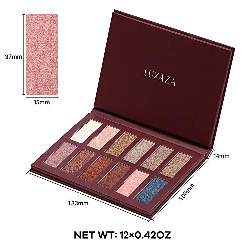 LUXAZA Eyeshadow Palette Matte Shimmer High Pigmented Eyeshadow Pallet 12 Colors Professional Makeup Nudes Warm Natural Long Lasting Waterproof Eye Shadow