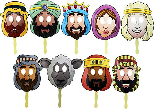 The Dreidel Company Passover Character Masks, Laminated Pesach Stick Puppets (Pack of 9)