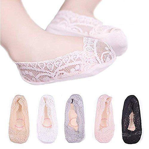 (Girls Lace No Show Socks Non-slip Silicone Grips Low Cut Boat Liner Loafer Footies Sock For Girls 5-7 Year Old)