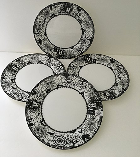 Ciroa Salad Plates Wiccan Lace Black Cat Haunted House Spider Web Halloween