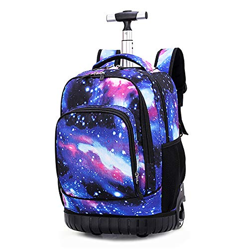 Rolling Backpack Travel Wheeled Trolley Luggage Students Galaxy School Books Bag