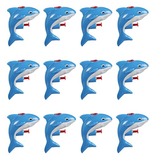 Mini Animal Squirt Guns - 12 Pack of Blue Shark Water Plastic Toys for Kids Bulk Summer Pool Party Favors, Ages 6 and Up]()