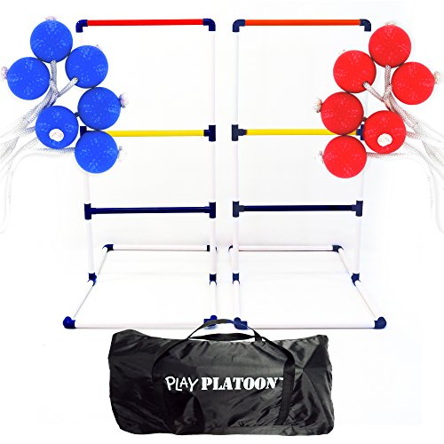Play Platoon Premium Ladderball Game Set with 6 Ladder Golf Ball Bolas (Complete Ladder Toss Game (Frozen Sven Kids Reindeer Antlers)