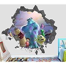 """Monster Inc Wall Decal Smashed 3D Sticker Vinyl Decor Mural Movie Kids - Broken Wall - 3D Designs - OP410 (Small (Wide 22"""" x 16"""" Height))"""