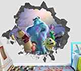 Monster Inc Wall Decal Smashed 3D Sticker Vinyl Decor Mural Movie Kids - Broken Wall - 3D Designs - OP410 (Large (Wide 40'' x 36'' Height))