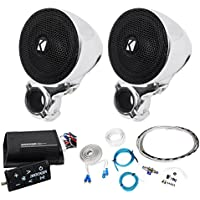 Package:(Pair)Kicker 40PSM32 PSM3 Waterproof Motorcycle and ATV Handlebar Speakers+Kicker 40PXIBT502 Motorcycle+ATV 2-Channel Bluetooth Amp+Remote+8 Gauge Waterproof Marine/Boat Amp Wire Instl Kit