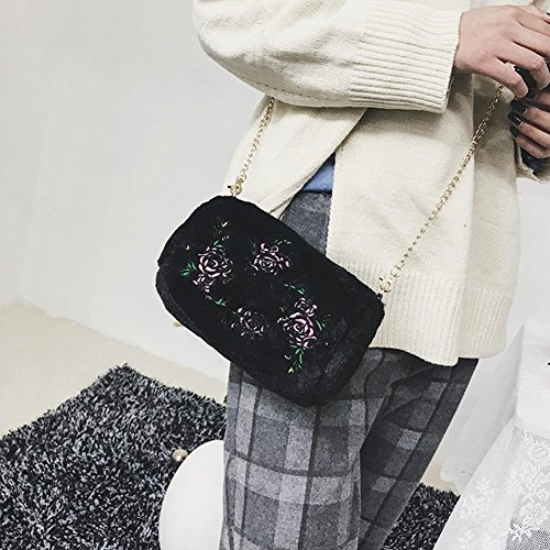 Chain Plush Crossbody Embroidered Bag Shoulder Women Widewing Bag Flowers Black Messenger naW4Y5Pf