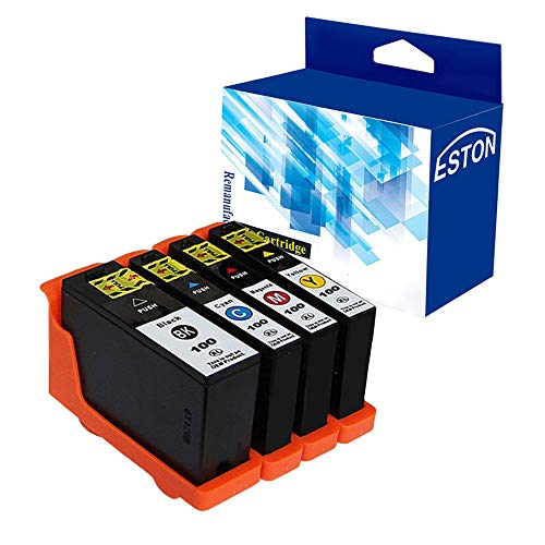 ESTON Compatible Ink Cartridge Replacement for Lexmark 100XL 100 XL High Yield for Lexmark Impact S305,Pinnacle Pro901 (1Black 1Cyan 1Magenta 1Yellow, 4-Pack) (Compatible Lexmark Ink)