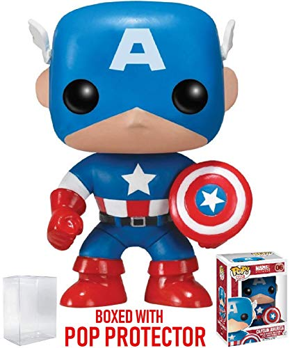 Funko Pop! Marvel Comics: Captain America Vinyl Figure (Bundled Pop Box Protector Case)